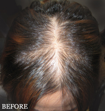 kerathik hair building fibers before woman